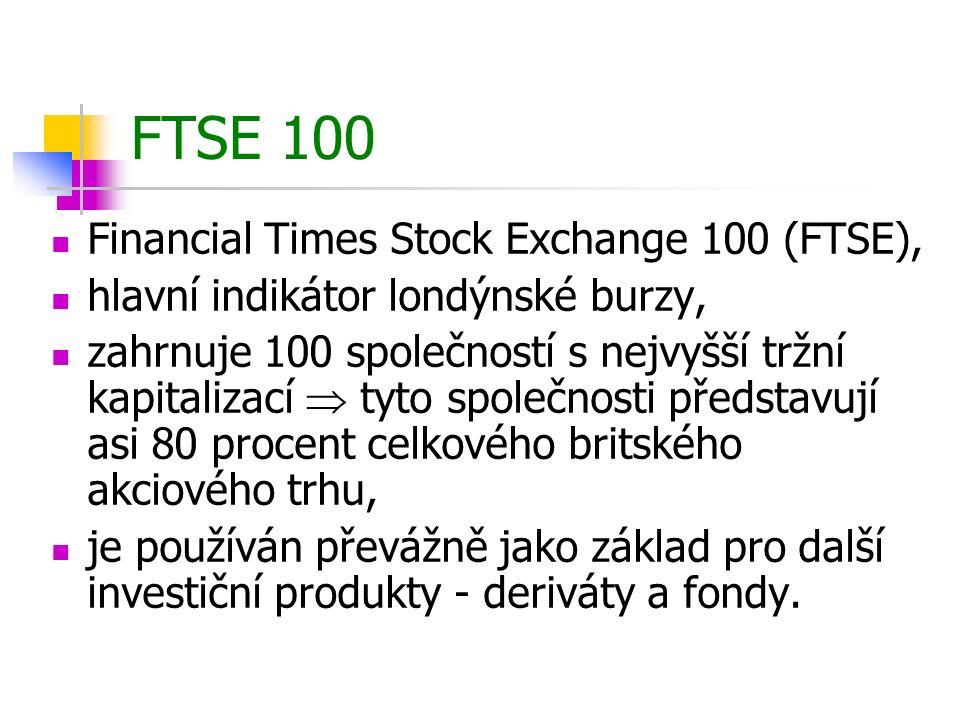 FTSE 100 Financial Times Stock Exchange 100 (FTSE), hlavní indikátor londýnské burzy, zahrnuje 100 společností s nejvyšší tržní kapitalizací  tyto sp
