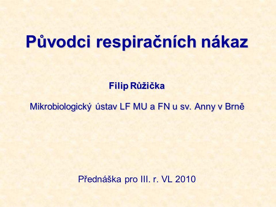 Původci respiračních nákaz Filip Růžička Mikrobiologický ústav LF MU a FN u sv. Anny v Brně Přednáška pro III. r. VL 2010