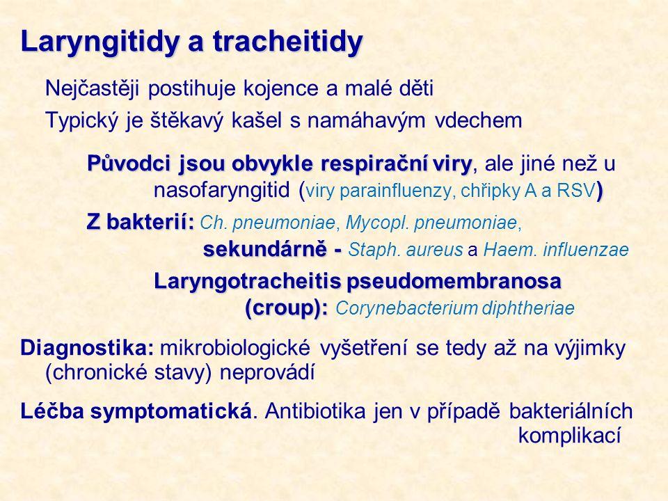 Laryngitidy a tracheitidy Nejčastěji postihuje kojence a malé děti Typický je štěkavý kašel s namáhavým vdechem Původci jsou obvykle respirační viry )
