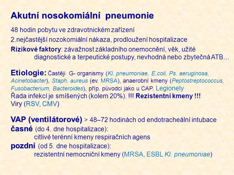 Akutní nosokomiální pneumonie 48 hodin pobytu ve zdravotnickém zařízení 2.nejčastější nozokomiální nákaza, prodloužení hospitalizace Rizikové faktory:
