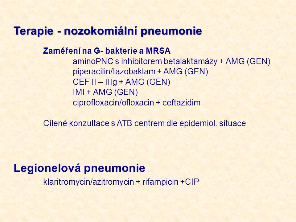 Terapie - nozokomiální pneumonie Zaměření na G- bakterie a MRSA aminoPNC s inhibitorem betalaktamázy + AMG (GEN) piperacilin/tazobaktam + AMG (GEN) CE