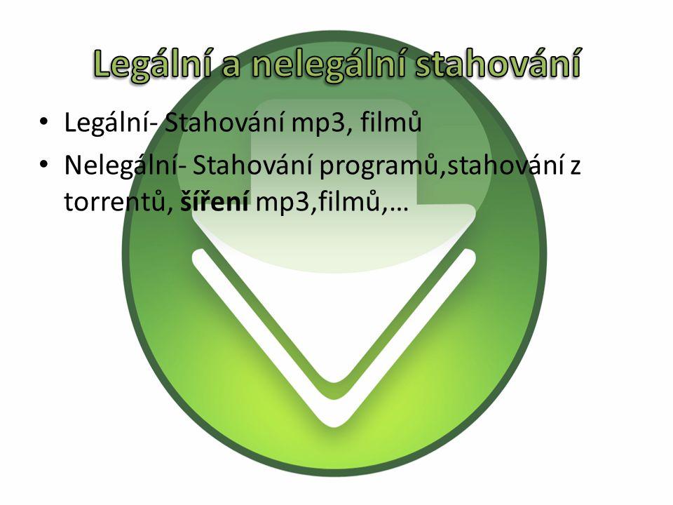 Legální- Stahování mp3, filmů Nelegální- Stahování programů,stahování z torrentů, šíření mp3,filmů,…