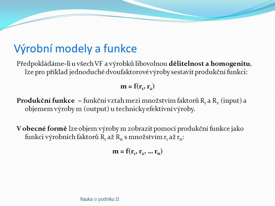 Výrobní modely a funkce Předpokládáme-li u všech VF a výrobků libovolnou dělitelnost a homogenitu, lze pro příklad jednoduché dvoufaktorové výroby ses