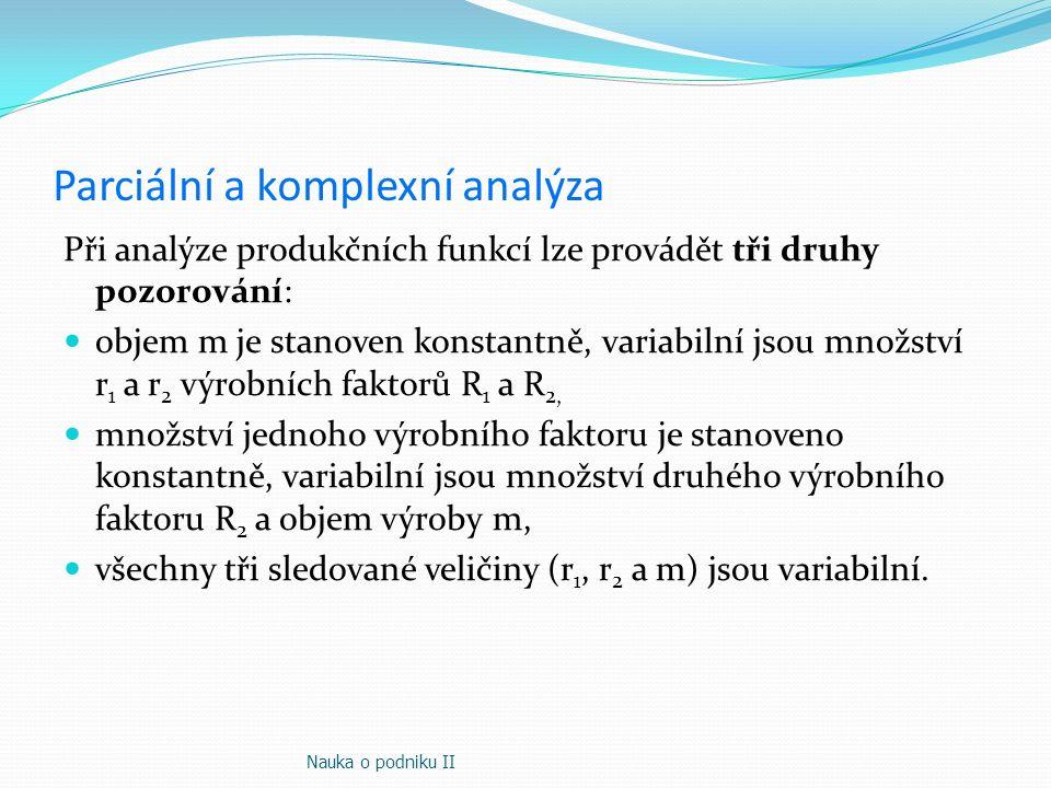 Parciální a komplexní analýza Při analýze produkčních funkcí lze provádět tři druhy pozorování: objem m je stanoven konstantně, variabilní jsou množst