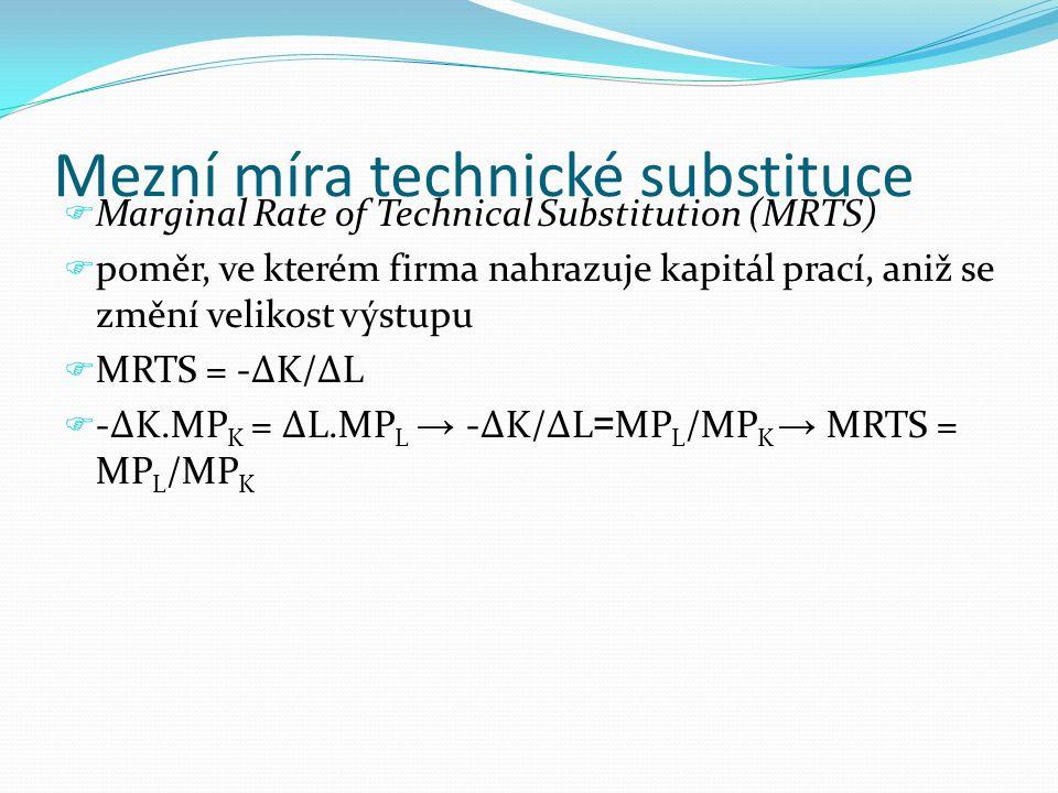Mezní míra technické substituce  Marginal Rate of Technical Substitution (MRTS)  poměr, ve kterém firma nahrazuje kapitál prací, aniž se změní velik