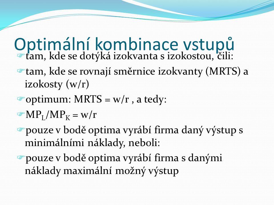 Optimální kombinace vstupů  tam, kde se dotýká izokvanta s izokostou, čili:  tam, kde se rovnají směrnice izokvanty (MRTS) a izokosty (w/r)  optimu