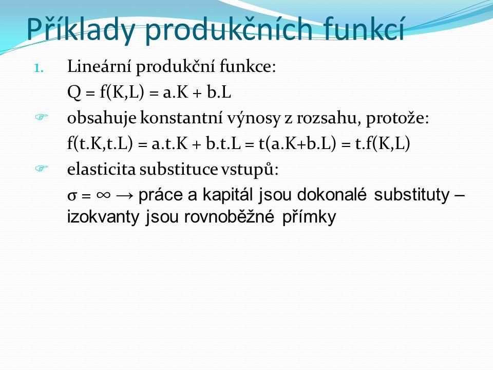 Příklady produkčních funkcí 1.Lineární produkční funkce: Q = f(K,L) = a.K + b.L  obsahuje konstantní výnosy z rozsahu, protože: f(t.K,t.L) = a.t.K +
