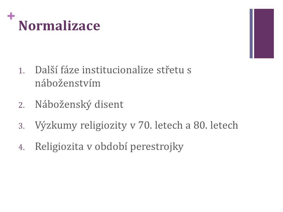 + Normalizace 1. Další fáze institucionalize střetu s náboženstvím 2.