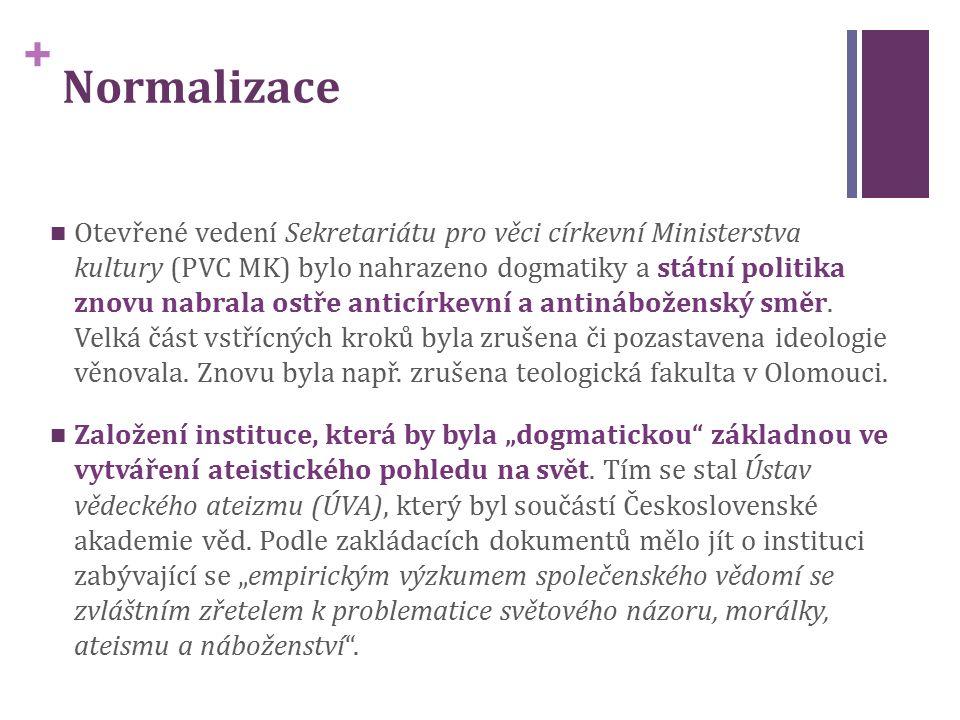+ Normalizace Otevřené vedení Sekretariátu pro věci církevní Ministerstva kultury (PVC MK) bylo nahrazeno dogmatiky a státní politika znovu nabrala ostře anticírkevní a antináboženský směr.