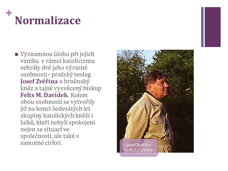 + Normalizace Významnou úlohu při jejich vzniku v rámci katolicismu sehrály dvě jeho výrazné osobnosti– pražský teolog Josef Zvěřina a brněnský kněz a tajně vysvěcený biskup Felix M.