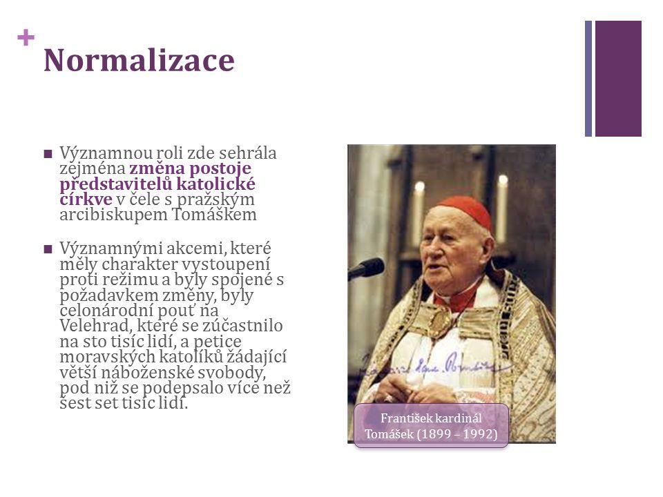 + Normalizace Významnou roli zde sehrála zejména změna postoje představitelů katolické církve v čele s pražským arcibiskupem Tomáškem Významnými akcemi, které měly charakter vystoupení proti režimu a byly spojené s požadavkem změny, byly celonárodní pouť na Velehrad, které se zúčastnilo na sto tisíc lidí, a petice moravských katolíků žádající větší náboženské svobody, pod niž se podepsalo více než šest set tisíc lidí.
