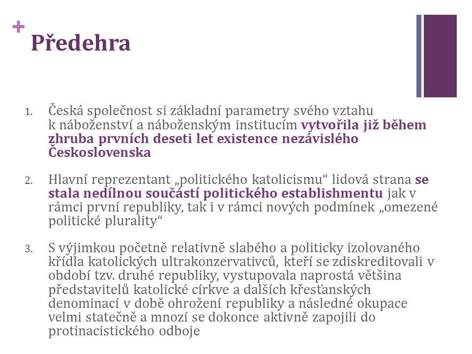 + 1. Česká společnost si základní parametry svého vztahu k náboženství a náboženským institucím vytvořila již během zhruba prvních deseti let existenc