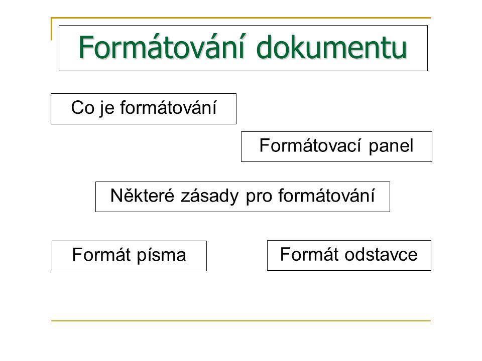 Formátování dokumentu Co je formátování Formátovací panel Některé zásady pro formátování Formát písma Formát odstavce
