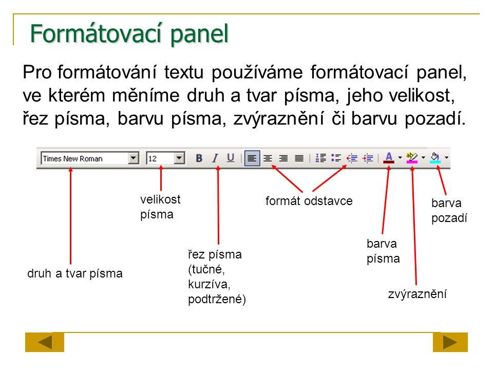 Formátovací panel Pro formátování textu používáme formátovací panel, ve kterém měníme druh a tvar písma, jeho velikost, řez písma, barvu písma, zvýraz