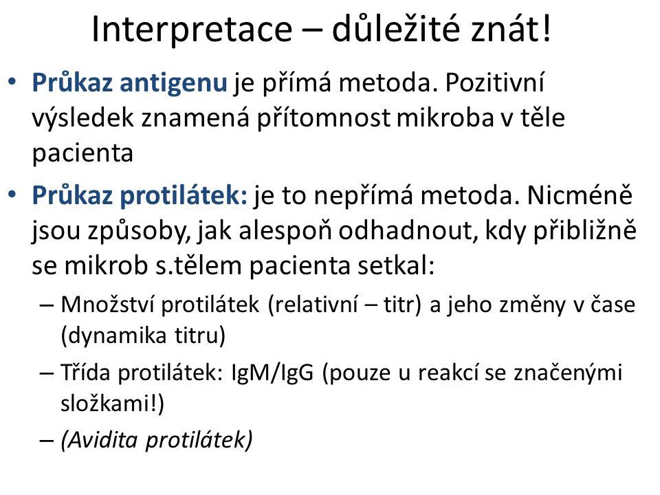 Interpretace – důležité znát! Průkaz antigenu je přímá metoda. Pozitivní výsledek znamená přítomnost mikroba v těle pacienta Průkaz protilátek: je to