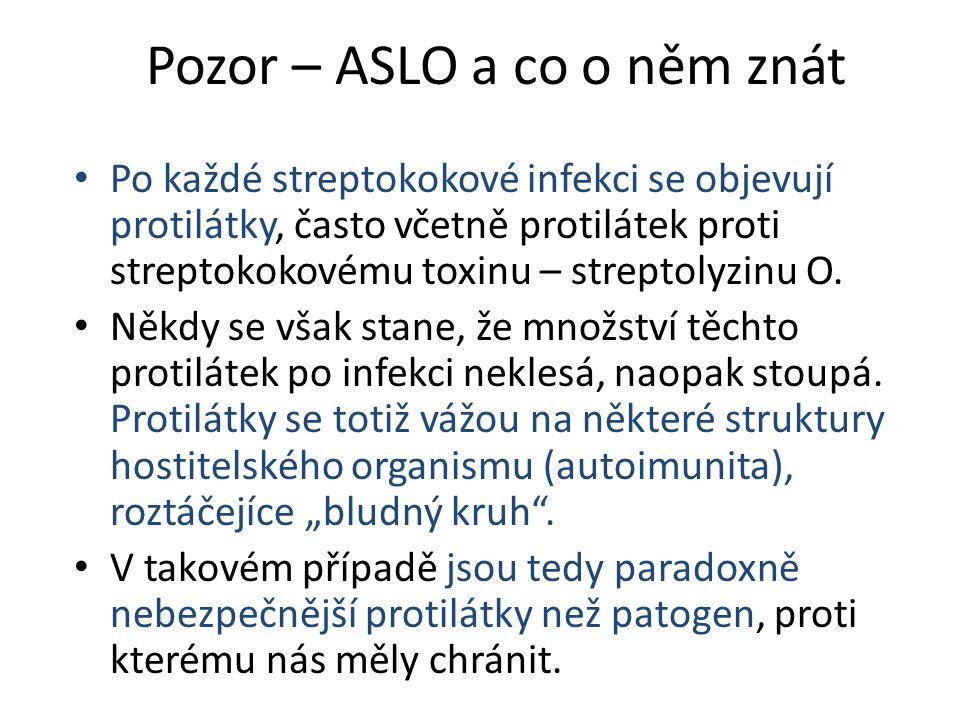 Pozor – ASLO a co o něm znát Po každé streptokokové infekci se objevují protilátky, často včetně protilátek proti streptokokovému toxinu – streptolyzi