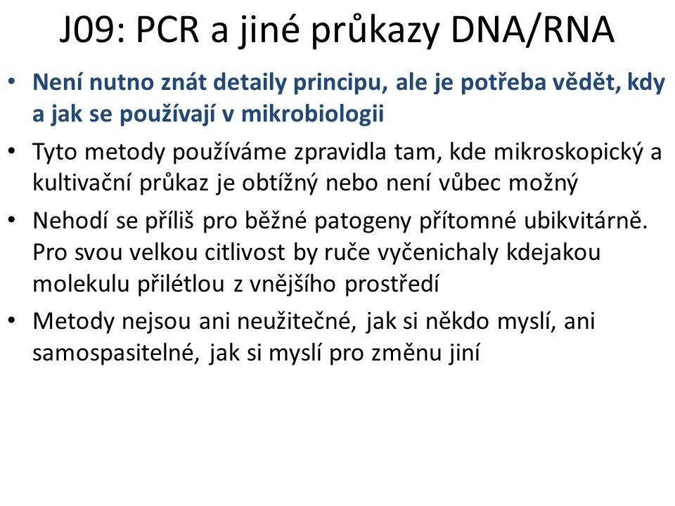 J09: PCR a jiné průkazy DNA/RNA Není nutno znát detaily principu, ale je potřeba vědět, kdy a jak se používají v mikrobiologii Tyto metody používáme z