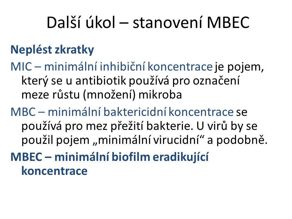 Další úkol – stanovení MBEC Neplést zkratky MIC – minimální inhibiční koncentrace je pojem, který se u antibiotik používá pro označení meze růstu (mno