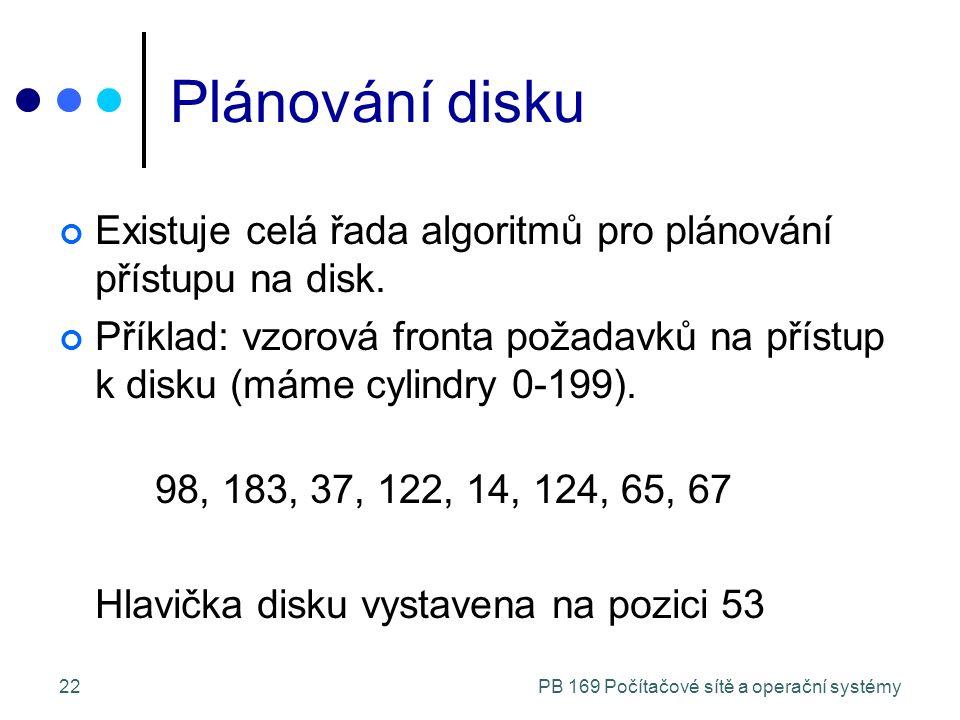 PB 169 Počítačové sítě a operační systémy22 Plánování disku Existuje celá řada algoritmů pro plánování přístupu na disk.