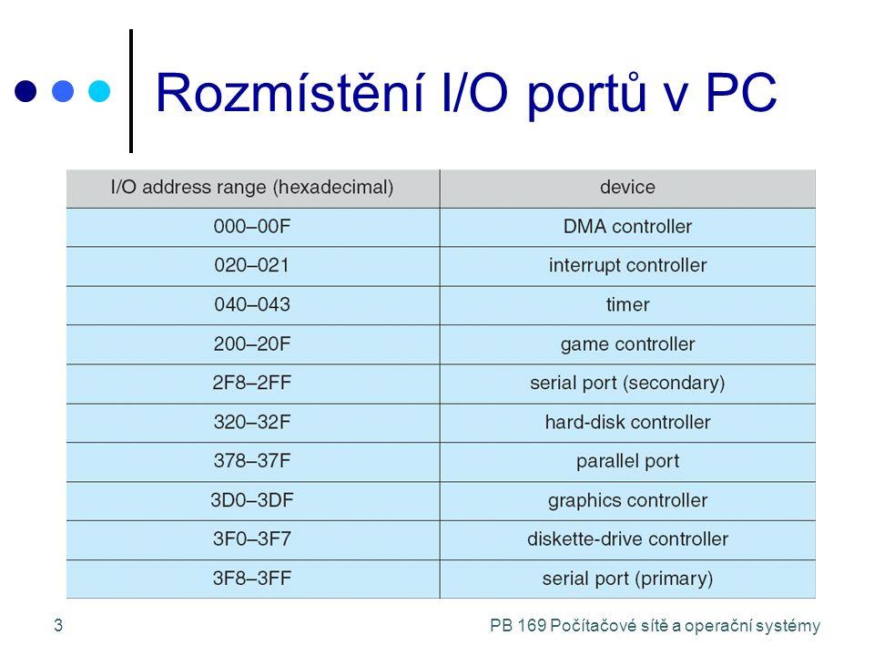 PB 169 Počítačové sítě a operační systémy4 Techniky provádění I/O Programovaný I/O (busy-waiting) opakovaně se ptám na stav zařízení připraven pracuje chyba I/O řízený přerušením zahájení I/O pomocí I/O příkazu paralelní běh I/O s během procesoru I/O modul oznamuje přerušením konec přenosu Direct Memory Access (DMA) kopírování bloků mezi pamětí a I/O zařízením na principu kradení cyklů paměti přerušení po přenosu bloku (indikace konce)