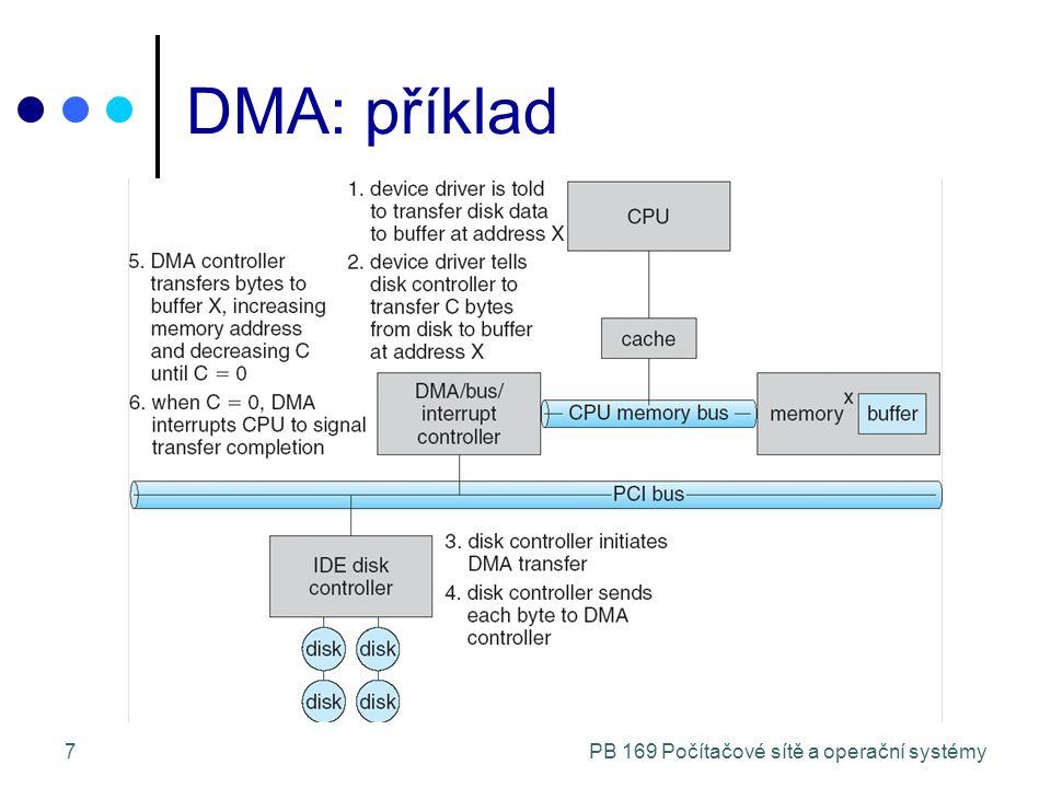 PB 169 Počítačové sítě a operační systémy8 Aplikační rozhraní I/O Jádro OS se snaží skrýt rozdíly mezi I/O zařízeními a programátorům poskytuje jednotné rozhraní Dále vrstva ovladačů ukrývá rozdílnost chování I/O řadičů i před některými částmi jádra Některé vlastnosti I/O zařízení mód přenosu dat: znakové (terminál) / blokové (disk) způsob přístupu: sekvenční (modem) / přímý (disk) sdílené/dedikované: klávesnice / páska rychlost přenosu: vystavení, přenos,...