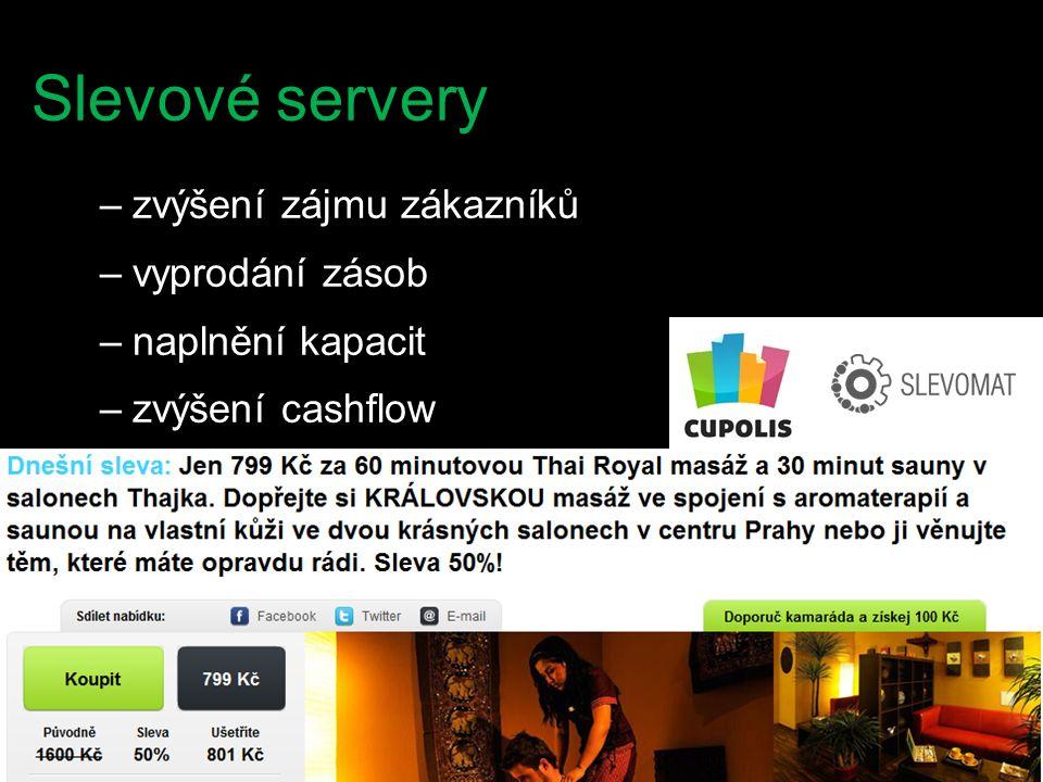 Slevové servery –zvýšení zájmu zákazníků –vyprodání zásob –naplnění kapacit –zvýšení cashflow