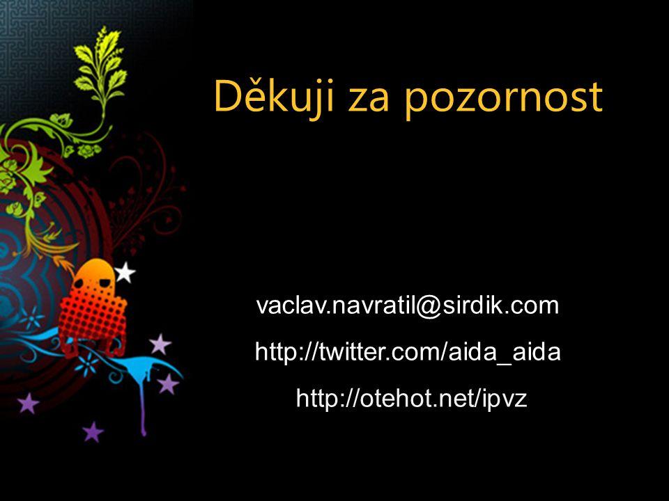 Děkuji za pozornost vaclav.navratil@sirdik.com http://twitter.com/aida_aida http://otehot.net/ipvz
