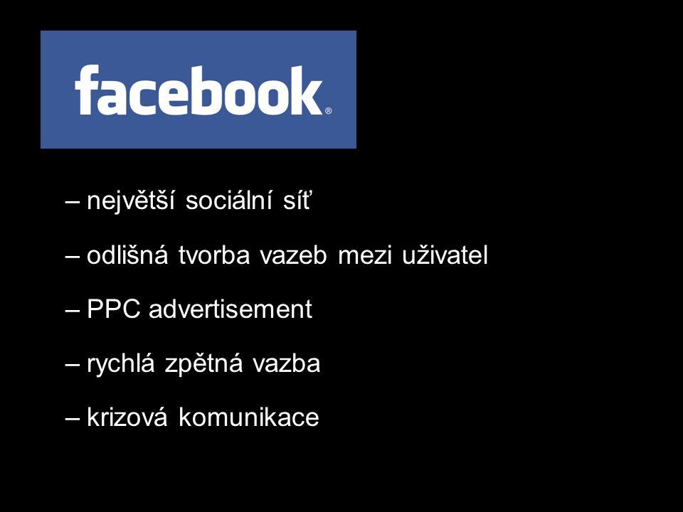 –největší sociální síť –odlišná tvorba vazeb mezi uživatel –PPC advertisement –rychlá zpětná vazba –krizová komunikace