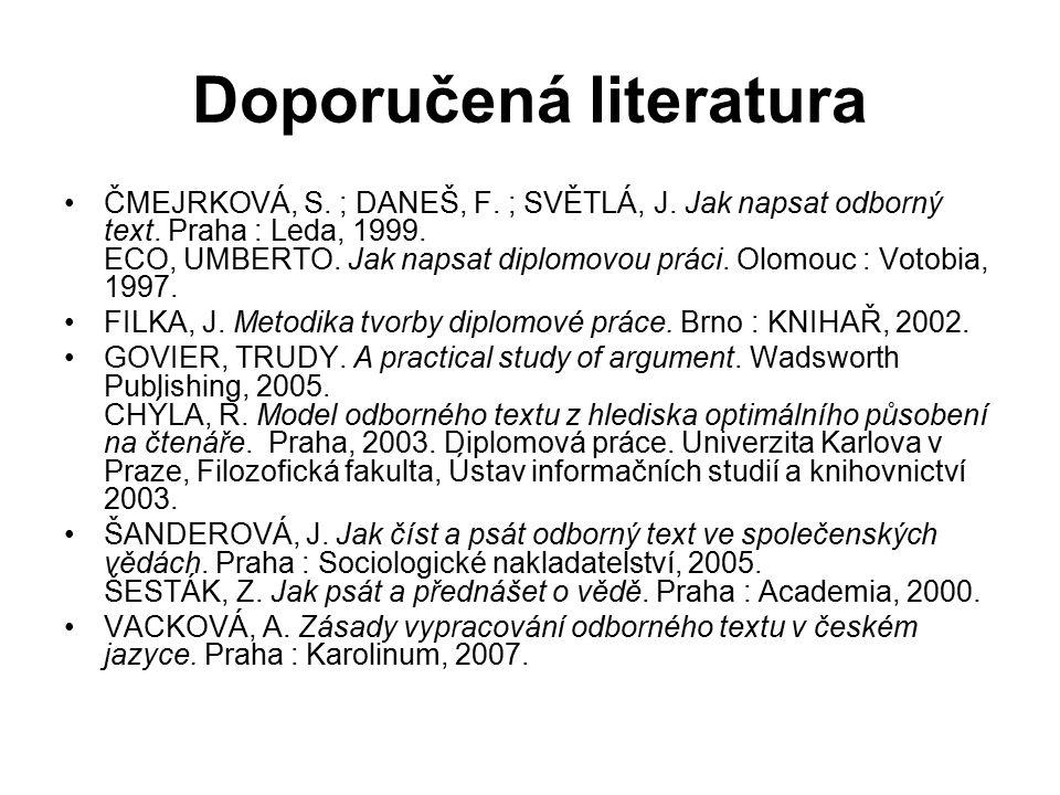 Doporučená literatura ČMEJRKOVÁ, S. ; DANEŠ, F. ; SVĚTLÁ, J. Jak napsat odborný text. Praha : Leda, 1999. ECO, UMBERTO. Jak napsat diplomovou práci. O