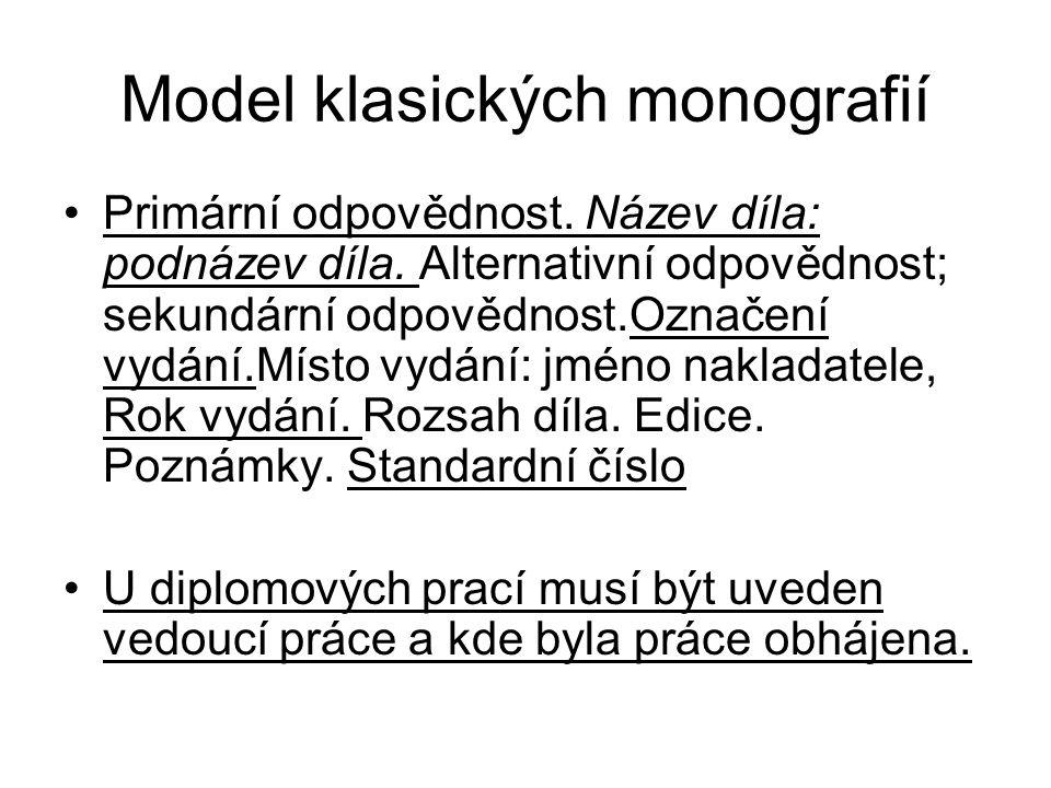 Model klasických monografií Primární odpovědnost. Název díla: podnázev díla. Alternativní odpovědnost; sekundární odpovědnost.Označení vydání.Místo vy