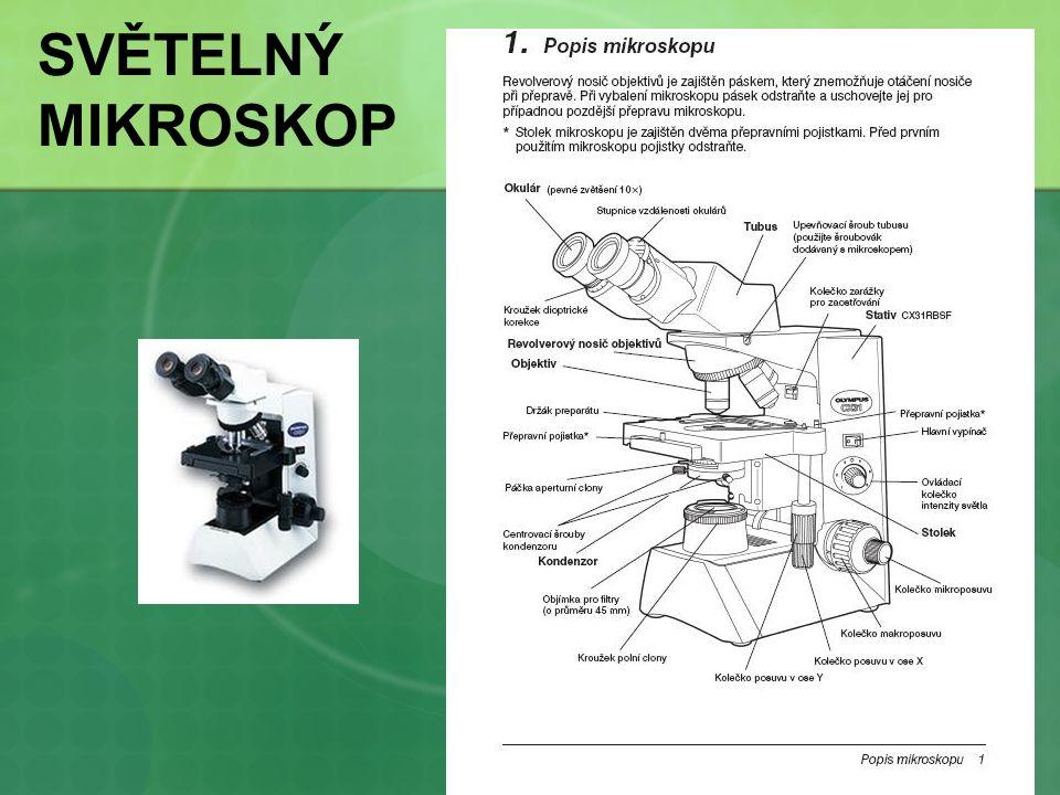 Rozlišovací schopnost oka – 0,3 mm Rozlišovací schopnost světelného mikroskopu vzdálenost dvou bodů, které mikroskop zobrazí jako dva samostatné body numerická apertura - nastavení aperturní clony = 80% apertury objektivu objektivy s vyšší aperturou mají lepší rozlišovací schopnost přidání imerzního oleje mezi preparát a objektiv (zábrana ztráty světla, zvýšení indexu lomu) použití světelných filtrů (propouští světlo s kratší vlnovou délkou) Zvětšení světelného mikroskopu 50x – 1000x teoretické maximum 2000x (naráží na fyzikální možnosti světla)