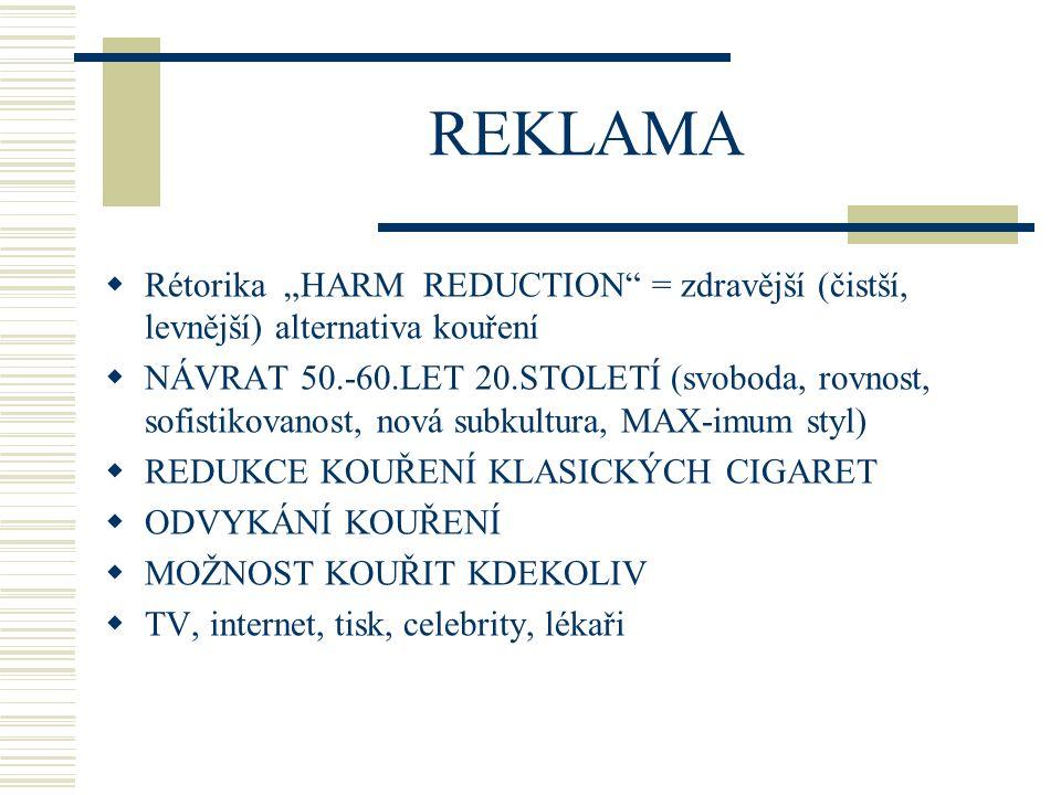 """REKLAMA  Rétorika """"HARM REDUCTION"""" = zdravější (čistší, levnější) alternativa kouření  NÁVRAT 50.-60.LET 20.STOLETÍ (svoboda, rovnost, sofistikovano"""