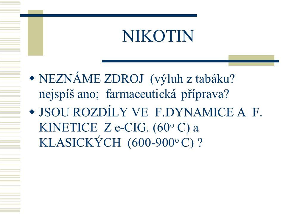 NICOTINE JUICE  Obsah náplně 5, 10, 20 ml  Koncentrace nikotinu 0 – 20 - 36 mg/ml  Nikotin sulfát (insekticid) - neurotoxicita  I v nejmenší náplni (5ml) může být 100 mg nikotinu  Letální dávka 10 mg (děti), 30-60 mg (dospělí)