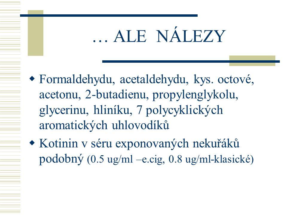 NIKOTIN / KOTININ  NK e-CIG CIG  VZDUCH 0.02 0.13 0.74  SLINY 0.07 0.19 0.38  MOČ 0.70 2.64 2.88 Hodnoty v bytech a biol.materiálu pasivně exponovaných nekuřáků Ballbe M et al.