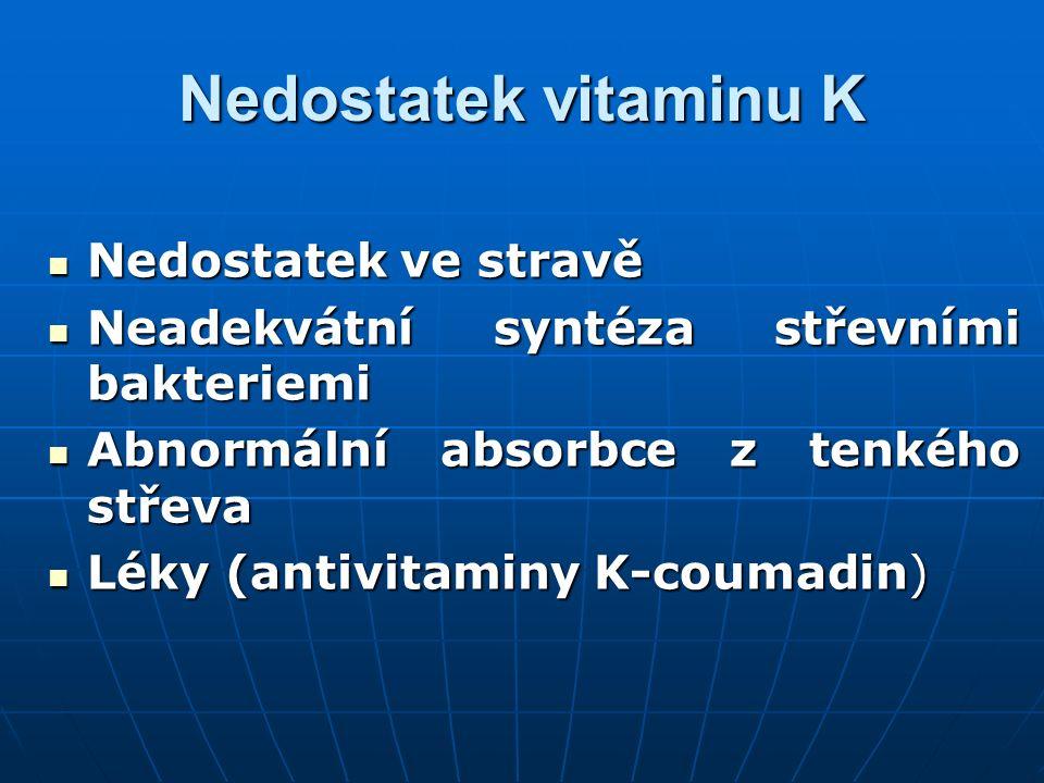 Nedostatek vitaminu K Nedostatek ve stravě Nedostatek ve stravě Neadekvátní syntéza střevními bakteriemi Neadekvátní syntéza střevními bakteriemi Abno