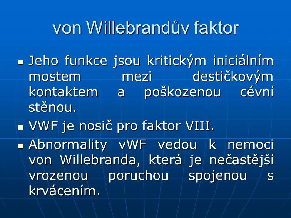von Willebrandův faktor Jeho funkce jsou kritickým iniciálním mostem mezi destičkovým kontaktem a poškozenou cévní stěnou. Jeho funkce jsou kritickým