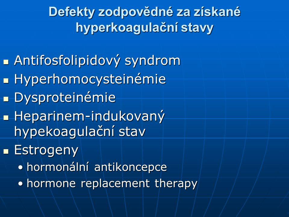 Defekty zodpovědné za získané hyperkoagulační stavy Antifosfolipidový syndrom Antifosfolipidový syndrom Hyperhomocysteinémie Hyperhomocysteinémie Dysp
