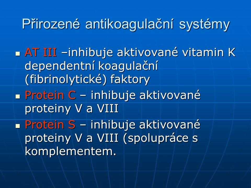 AT III –inhibuje aktivované vitamin K dependentní koagulační (fibrinolytické) faktory AT III –inhibuje aktivované vitamin K dependentní koagulační (fi