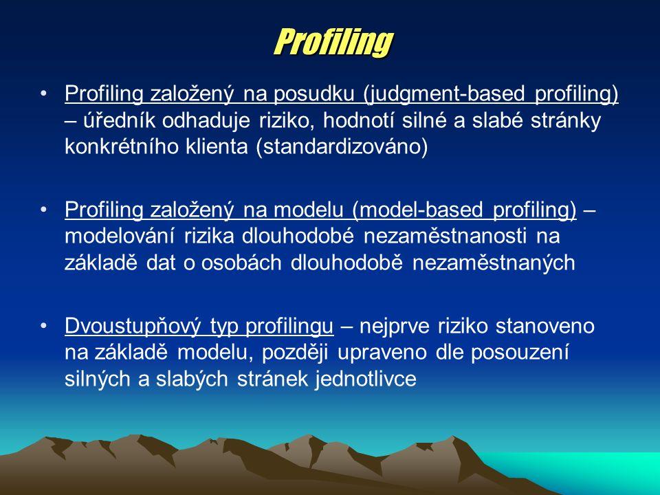 Profiling Profiling založený na posudku (judgment-based profiling) – úředník odhaduje riziko, hodnotí silné a slabé stránky konkrétního klienta (standardizováno) Profiling založený na modelu (model-based profiling) – modelování rizika dlouhodobé nezaměstnanosti na základě dat o osobách dlouhodobě nezaměstnaných Dvoustupňový typ profilingu – nejprve riziko stanoveno na základě modelu, později upraveno dle posouzení silných a slabých stránek jednotlivce