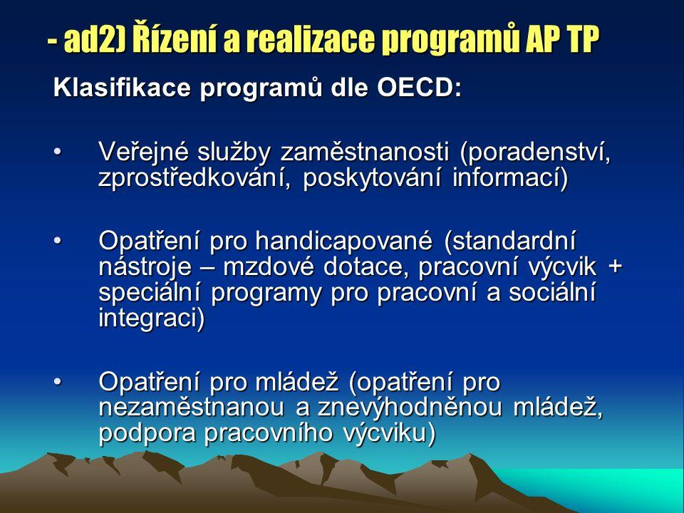 - ad2) Řízení a realizace programů AP TP Klasifikace programů dle OECD: Veřejné služby zaměstnanosti (poradenství, zprostředkování, poskytování informací)Veřejné služby zaměstnanosti (poradenství, zprostředkování, poskytování informací) Opatření pro handicapované (standardní nástroje – mzdové dotace, pracovní výcvik + speciální programy pro pracovní a sociální integraci)Opatření pro handicapované (standardní nástroje – mzdové dotace, pracovní výcvik + speciální programy pro pracovní a sociální integraci) Opatření pro mládež (opatření pro nezaměstnanou a znevýhodněnou mládež, podpora pracovního výcviku)Opatření pro mládež (opatření pro nezaměstnanou a znevýhodněnou mládež, podpora pracovního výcviku)