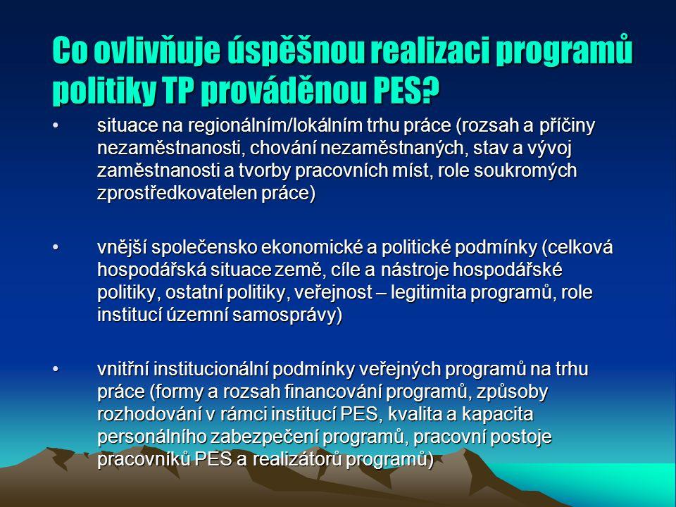 Co ovlivňuje úspěšnou realizaci programů politiky TP prováděnou PES.