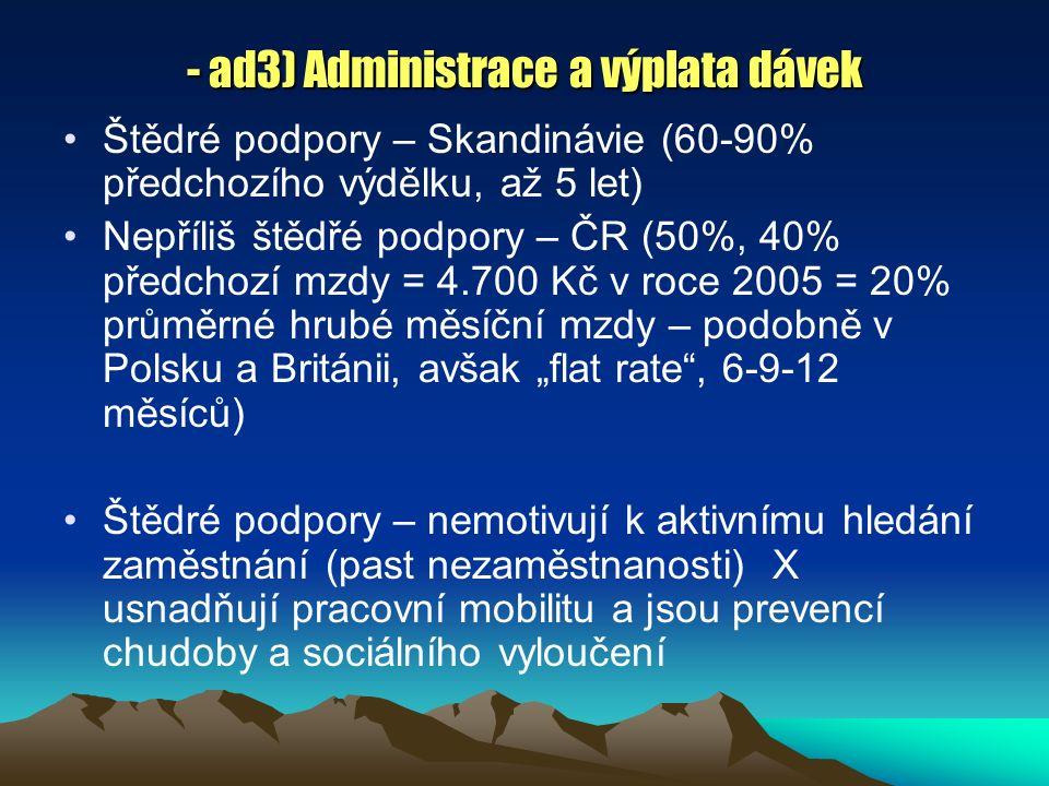 """- ad3) Administrace a výplata dávek Štědré podpory – Skandinávie (60-90% předchozího výdělku, až 5 let) Nepříliš štědřé podpory – ČR (50%, 40% předchozí mzdy = 4.700 Kč v roce 2005 = 20% průměrné hrubé měsíční mzdy – podobně v Polsku a Británii, avšak """"flat rate , 6-9-12 měsíců) Štědré podpory – nemotivují k aktivnímu hledání zaměstnání (past nezaměstnanosti) X usnadňují pracovní mobilitu a jsou prevencí chudoby a sociálního vyloučení"""