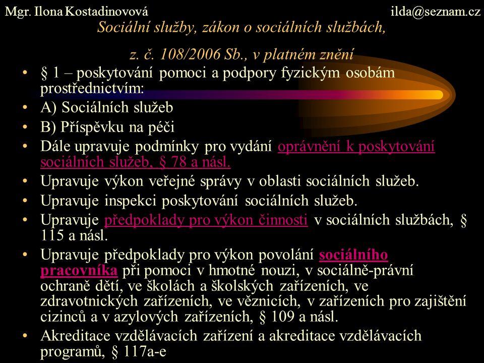 Sociální služby, zákon o sociálních službách, z. č.