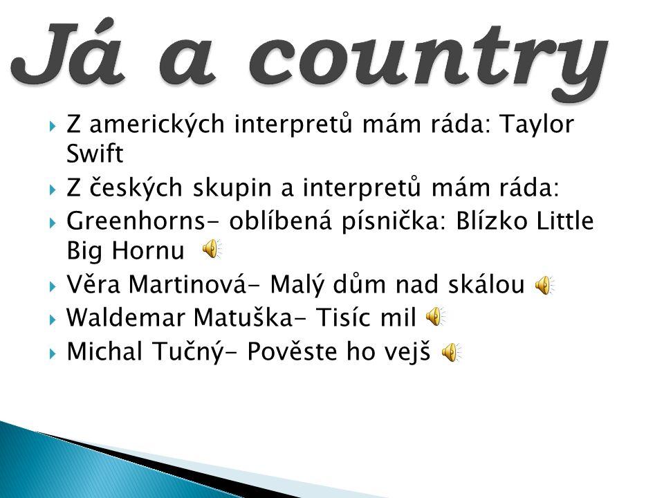  Z amerických interpretů mám ráda: Taylor Swift  Z českých skupin a interpretů mám ráda:  Greenhorns- oblíbená písnička: Blízko Little Big Hornu 