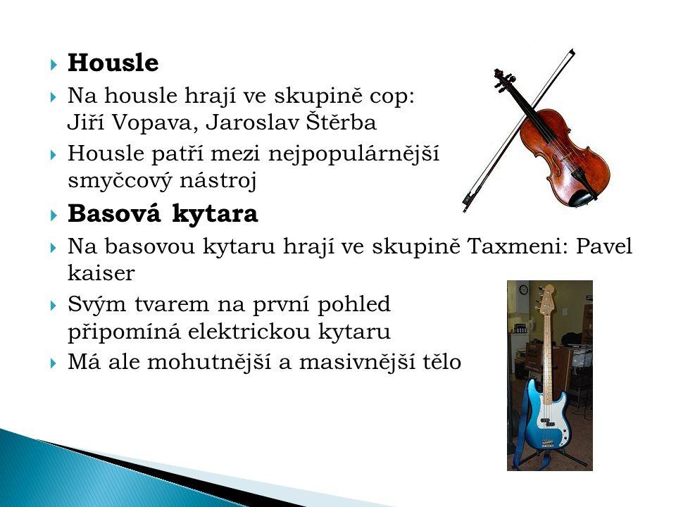  Housle  Na housle hrají ve skupině cop: Jiří Vopava, Jaroslav Štěrba  Housle patří mezi nejpopulárnější smyčcový nástroj  Basová kytara  Na baso
