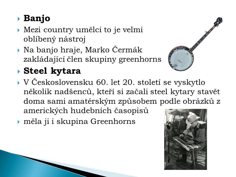  Banjo  Mezi country umělci to je velmi oblíbený nástroj  Na banjo hraje, Marko Čermák zakládající člen skupiny greenhorns  Steel kytara  V Česko