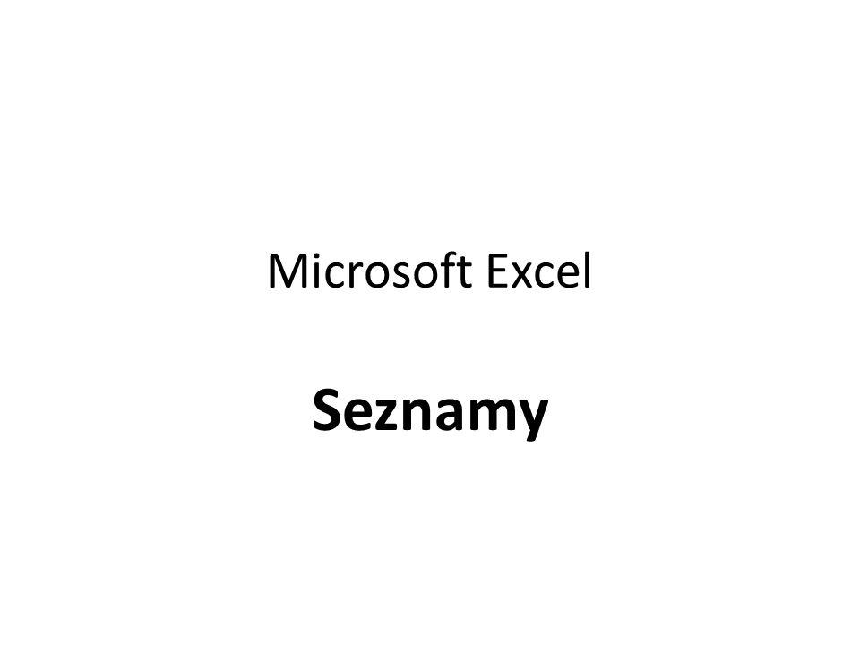 Microsoft Excel Seznamy
