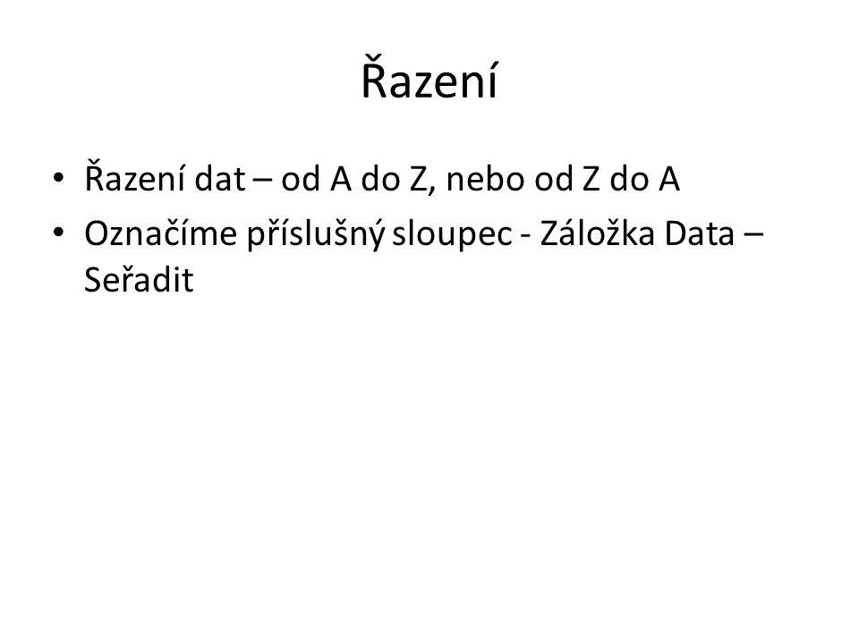 Řazení Řazení dat – od A do Z, nebo od Z do A Označíme příslušný sloupec - Záložka Data – Seřadit