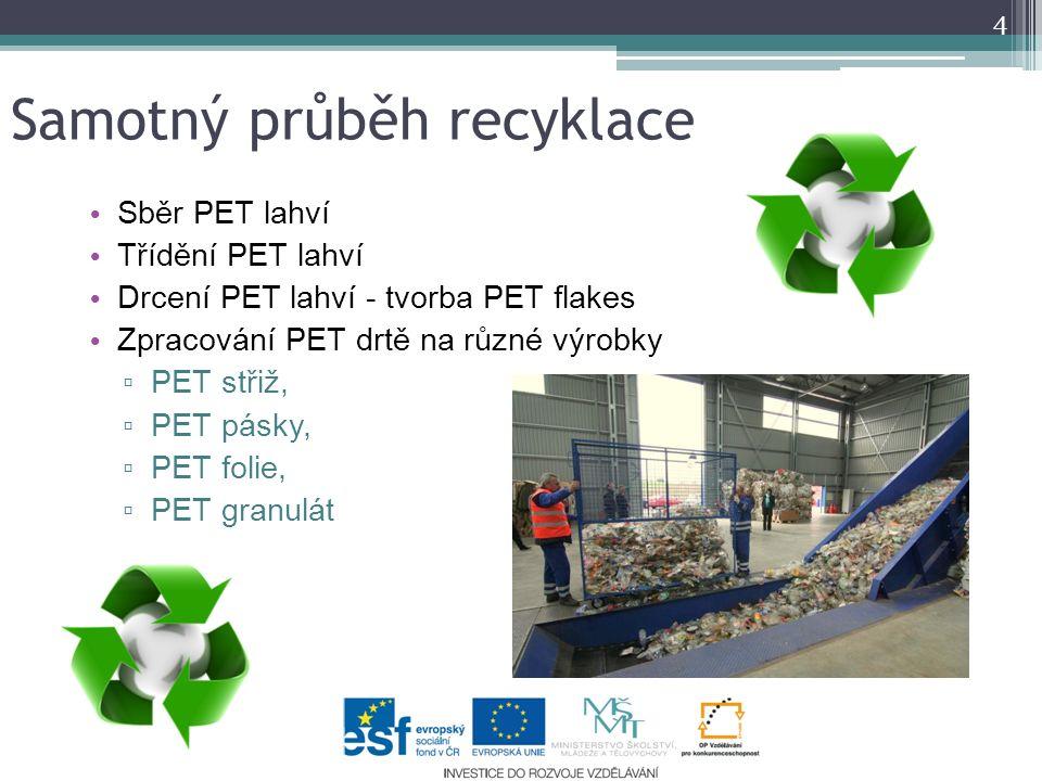 Samotný průběh recyklace 4 Sběr PET lahví Třídění PET lahví Drcení PET lahví - tvorba PET flakes Zpracování PET drtě na různé výrobky ▫ PET střiž, ▫ P