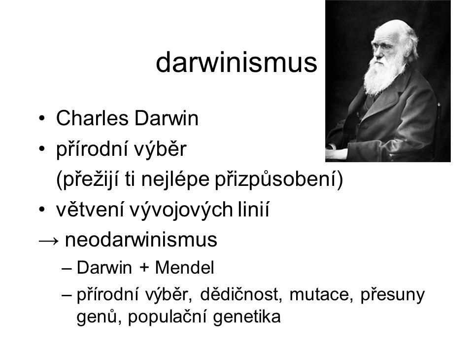 darwinismus Charles Darwin přírodní výběr (přežijí ti nejlépe přizpůsobení) větvení vývojových linií → neodarwinismus –Darwin + Mendel –přírodní výběr